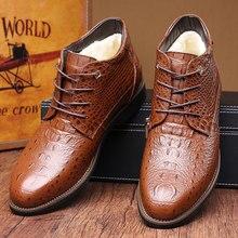 BACKCAMEL Winter New Men Shoes Leather Cotton Crocodile Pattern Dress Thick Fashion Large Size 38-46
