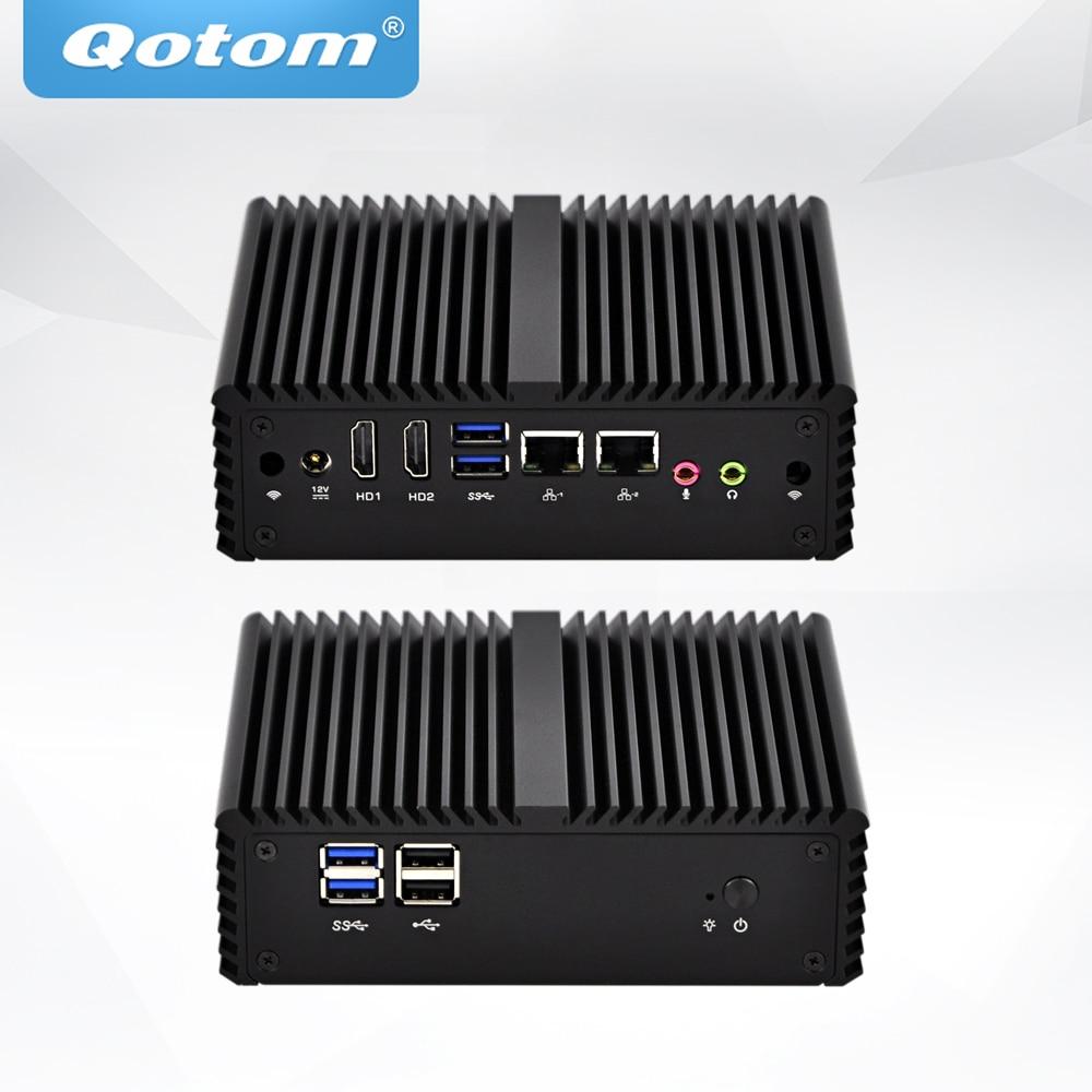 Mini PC QOTOM avec processeur Celeron 3215U double coeur 1.7 GHz sans ventilateur Mini emplacement pour carte SIMMini PC QOTOM avec processeur Celeron 3215U double coeur 1.7 GHz sans ventilateur Mini emplacement pour carte SIM