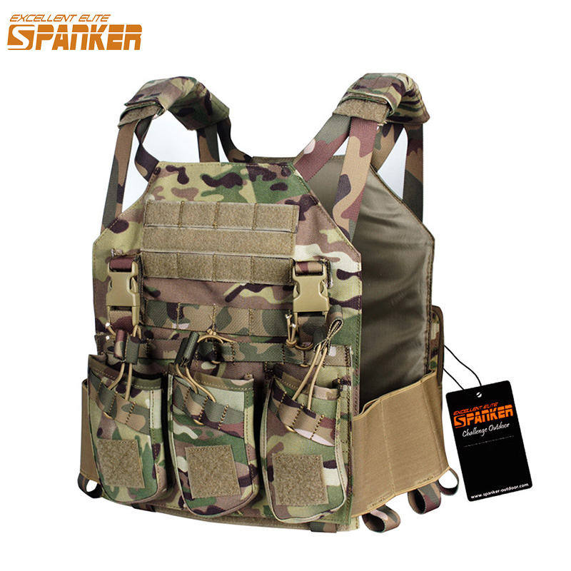 EXCELLENT ELITE SPANKER Hunting Camouflage Molle Nylon Modular Vest Tactical Combat Vests Equipment Outdoor Military Sports Vest spanker 1000d camouflage tactical molle tank mechanic chef cooking grilling apron army training hunting waterproof nylon vest