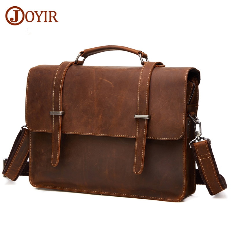 JOYIR Famous Brand Business Men Briefcase Bag Luxury Genuine Leather font b Laptop b font Bag