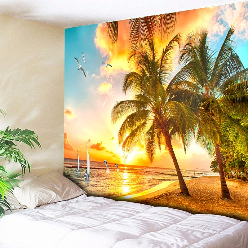 Psychedelic Forest Tapestry Sea Coconut Tree Wall Hanging Beach Tapestries 3D Printed Large Wall Tapestry Boho Hippie Home Decor