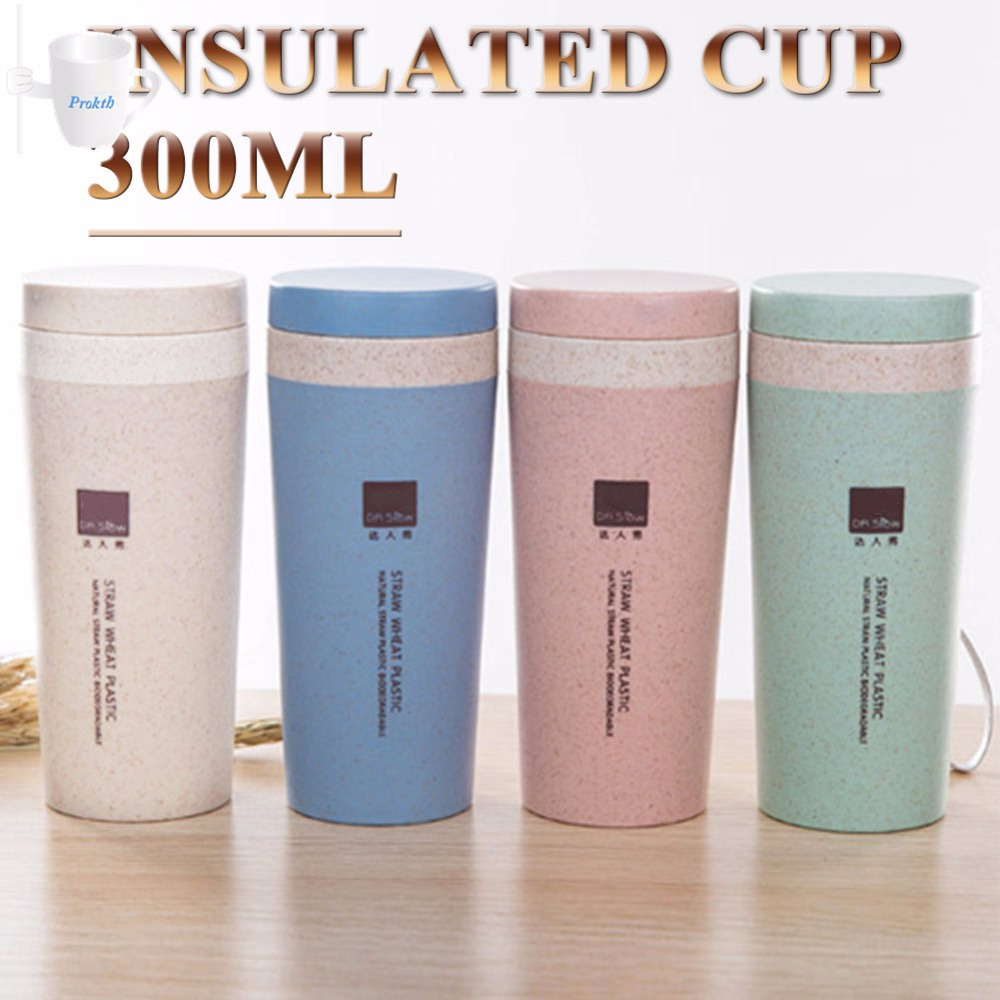 US $3 99 20% OFF|10 2oz 300ml Creative Wheat Straw Fiber Travel Portable  Thermos Vacuum Cup Mug Thermal Flask Travel Water Bottle-in Vacuum Flasks &