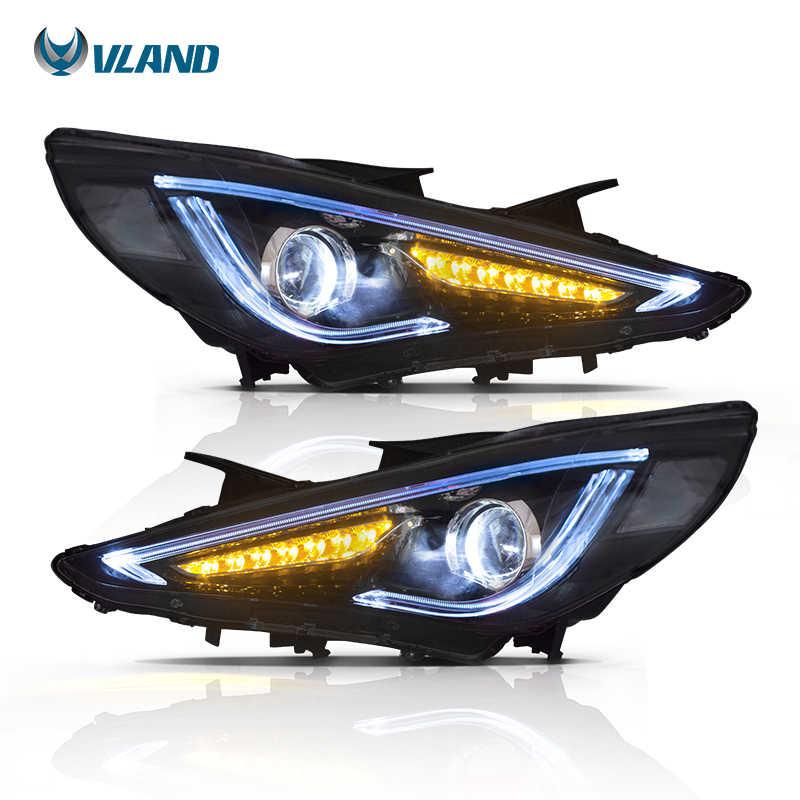 Vland For 2011 2014 Hyundai Sonata Headlights New Design Led Head Lamp Assembly Angle Eyes Headlight