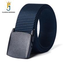 FAJARINA Plastic Automatic Buckle Nylon Belt Male Army Tactical Belt Mens Military Belts Cummerbunds Strap for Men CBFJ0010
