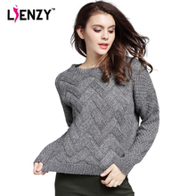 Warm 3D Loose Women Sweater 2016 Spring Pink O Neck Long Sleeve Wave Knit Pullovers Plaid Pull femme Padded Winter Clothing