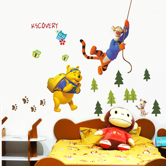 cartoon winnie the pooh bear tiger tree wall stickers for kids rooms home decor pvc wall decals mural art diy posters child gift