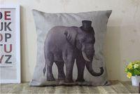 코끼리 베개 커버, 유럽 법원 스타일의 동물 만화 모자 코끼리 던져 베개