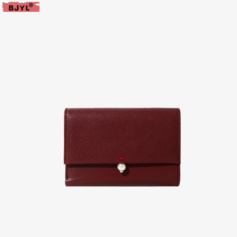 BJYL Womens leather wallet version of goatskin pearl buckle purse female long paragraph simple Coin Card Holders walletsBJYL Womens leather wallet version of goatskin pearl buckle purse female long paragraph simple Coin Card Holders wallets