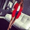 Chaqueta de Primavera Mujeres Ronda de Color Chaqueta de Bolsillo Grande de Algodón espacio moda de Algodón Estampado de Lunares Abrigos Parka Plus Size Slim chaquetas