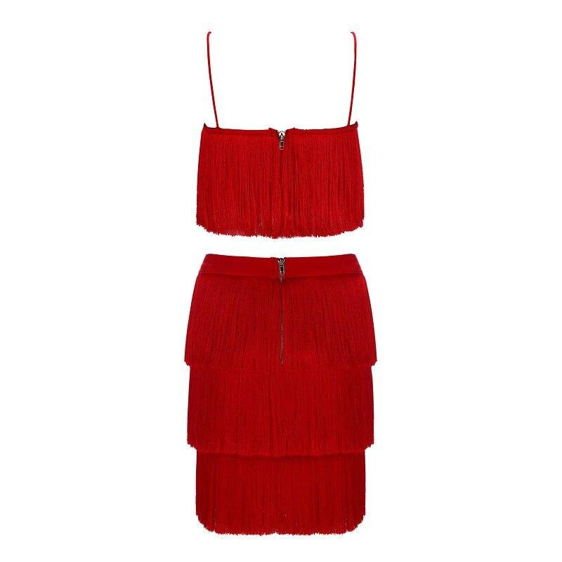 INDRESSME 2019 New Women Tassels Set Tops&Skirts 2 Two Pieces Set Celebrity Evening Party Women Fringe Sets Bandage Dress