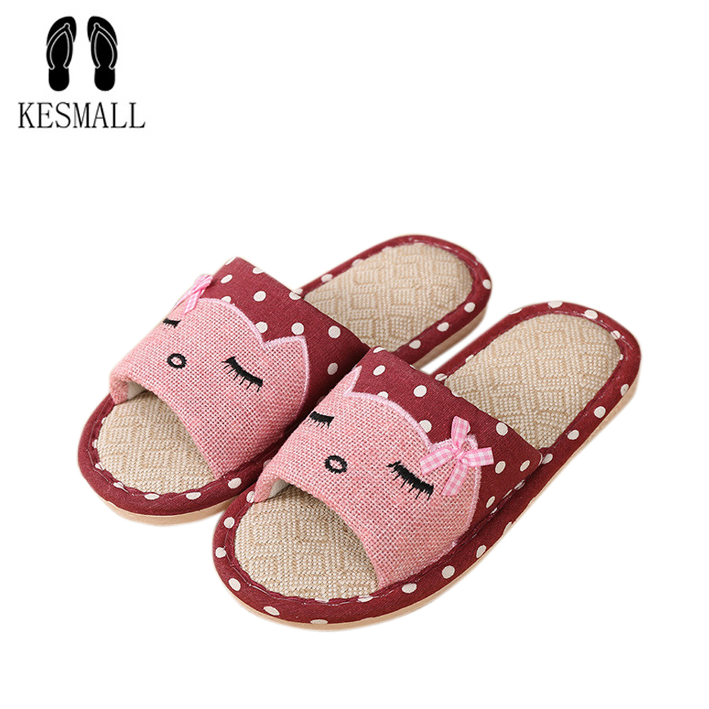 KESMALL Summer Indoor Slipper Anti Slip Linen Shoes Women Men Flat Shoes Hemp Sweat-absorbent Breathable Soft Floor Slippers S36 coolsa women s summer striped linen slippers women hemp slides women s flax slippers breathable non slip fashion indoor slippers
