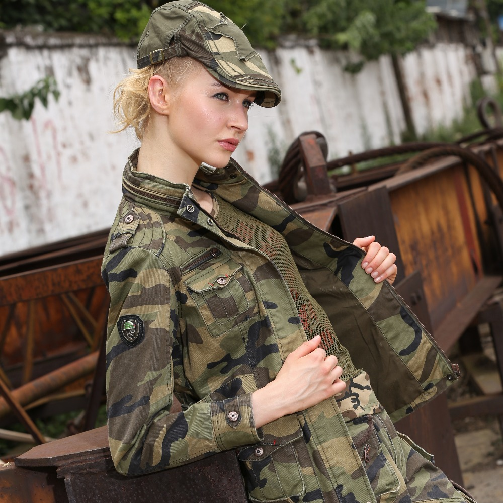 New Fashion Military Camouflage Womens Jacket Coat Autumn Stand - Women's Clothing - Photo 5