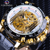 Forsining 2018 Golden Gear Movement White Dial Openwork Steampunk Design Mechanical Wristwatches Men's Watches Top Brand Luxury
