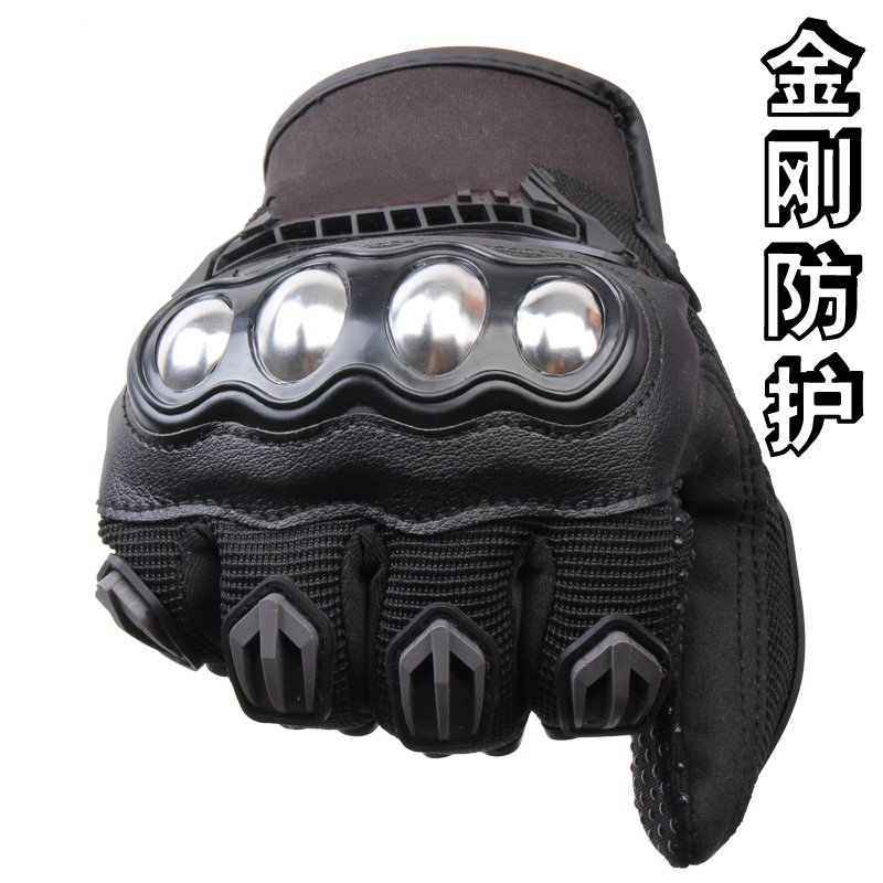Anti fall stainless steel cross country motorcycle gloves male summer racing Knight gloves motorcycle the locomotive car off road motorcycle 4 sets of four summer leggings kneecaps fall proof stainless steel brace length