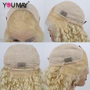 Image 5 - 613 금발 곱슬 짧은 밥 레이스 프런트 인간의 머리가 발 Pre 뽑아 150% 투명 13X6 컬러 레이스가 발 여성을위한 레미 수 있습니다