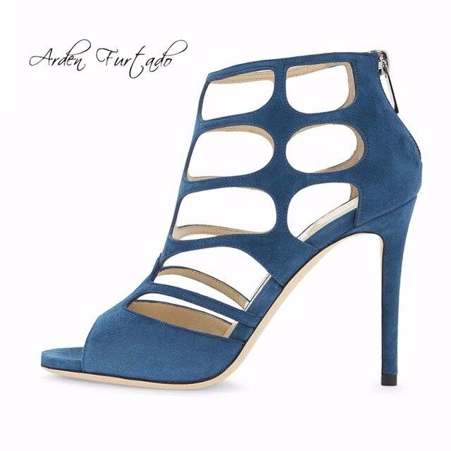 ebdbda95ce4aec Été cheville bottes découpe peep toe talons hauts dos fermeture à glissière  sandales chaussures pour femme
