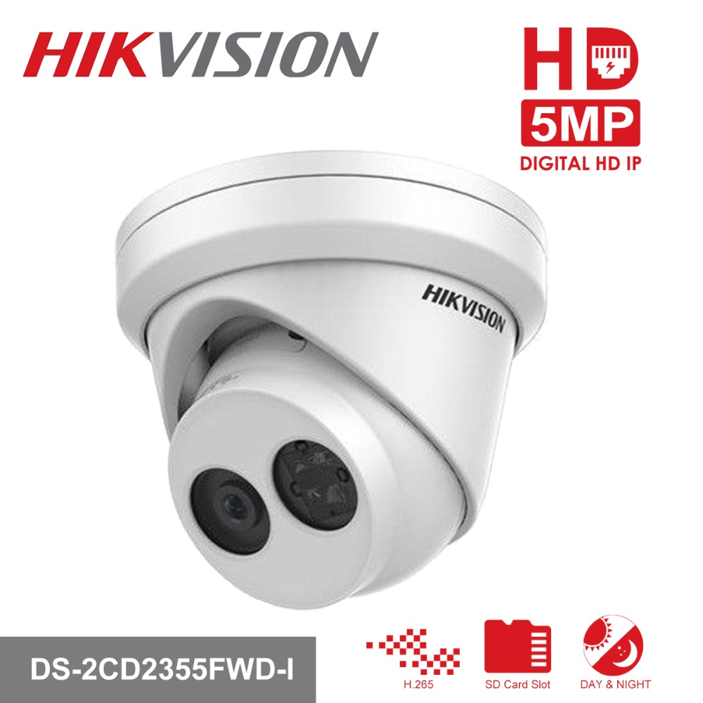 HIKVISION New H.265 IP Camera 5MP Network Turret IP Camera DS-2CD2355FWD-I English Version Security Camera Built-in SD card Slot free shipping english version ds 2cd2385fwd i 8mp network turret ip cctv camera sd card poe h 265 p2p security camera