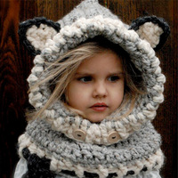 1pcs Lot 2016 Baby Girl Fox Scarf Caps Baby Bib Winter Hat