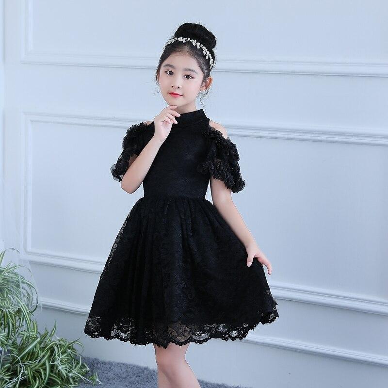Black Flower Girls Dress Knee Length Princess Dress Lace Tutu Dresses For Birthday Children Ball Gown