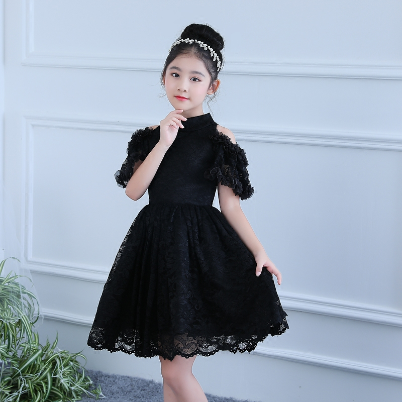 Black Flower Girls Dress Knee-Length Princess Dress Lace Tutu Dresses For Birthday Children Ball Gown Evening Party Gowns E232 fashion simple evening wedding princess dresses lace flower teenagers dresses for girls dress clothes tutu party dress
