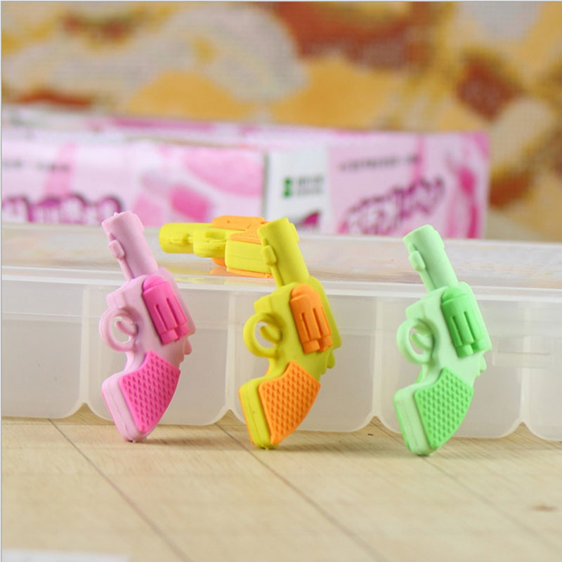 1pcs Cute Cartoon Pistol Creative Eraser Rubber Erase School Office Supplies Student Learn Supplies Papelaria Kawaii Kids Gift