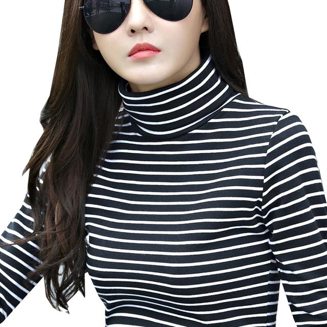 Tops de las mujeres, Además de Terciopelo Camiseta de Las Mujeres 2016 de Invierno de Cuello de Rayas Camisa de Manga larga Camiseta de la Camiseta Femenina Femme Plus Tamaño XXL 2XL