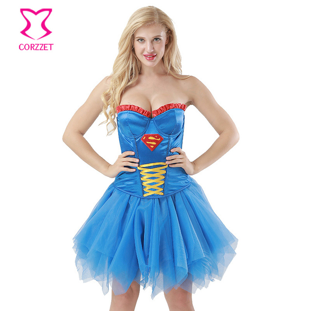 3e2f1c8ea6 Corzzet Blue Cotton Overbust Corsets And Bustiers Waist Trainer Burlesque  exy Superhero Costume Cosplay Superwoman Corset Dress