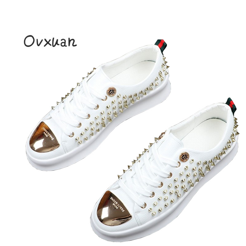 Ovxuan Men's Rivet Shoes Metal B buckle Handmade Luxury Brand Men Loafers Party Wedding Dress Casual Shoes Metal Toe Men Flats ovxuan metal skull buckle handmade men ankle shoes punk party dress loafers glitter bright sequins men flats casual rivets shoes