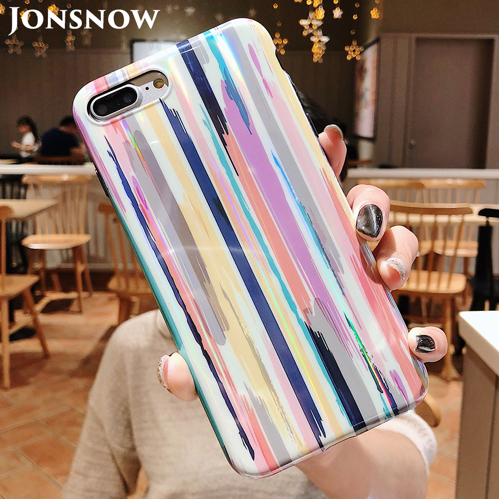 KIP7P1204_1_Aurora Laser Crayon Rainbow Case for iPhone 7 8 Glossy Soft Silicone Case For iPhone X XS 6S 7P 8 Plus Phone Cover
