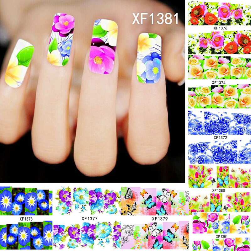 Mix 10pcs Flower Stickers for Nails Manicure Nail Art Decorations for Nail Design Water Sticker Beauty Nail Sticker Water Decals