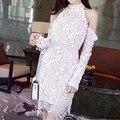 [Big venda] 2017 primavera recorte colete de renda fora do ombro halter-neck dress elegante one piece-dress s, m cor preto branco