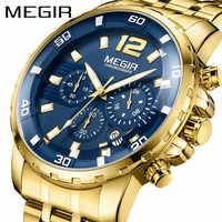 MEGIR Chronograph Mens Watches Top Luxury Brand Clocks Military Army Sport Clock Steel Strap Quartz Date Men Male Watch Box 2068