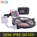 Waterproof IP65 RGB LED Strip 60LEDs/m 5M/lot SMD2835 2A DC12V Power Supply IR Remote Controller Christmas RGB Strip Lamps