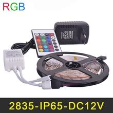 Waterproof IP65 RGB LED Strip 60LEDs/m 5M/lot SMD2835 2A DC12V Power Supply IR Remote Controller Christmas RGB Strip Lamps