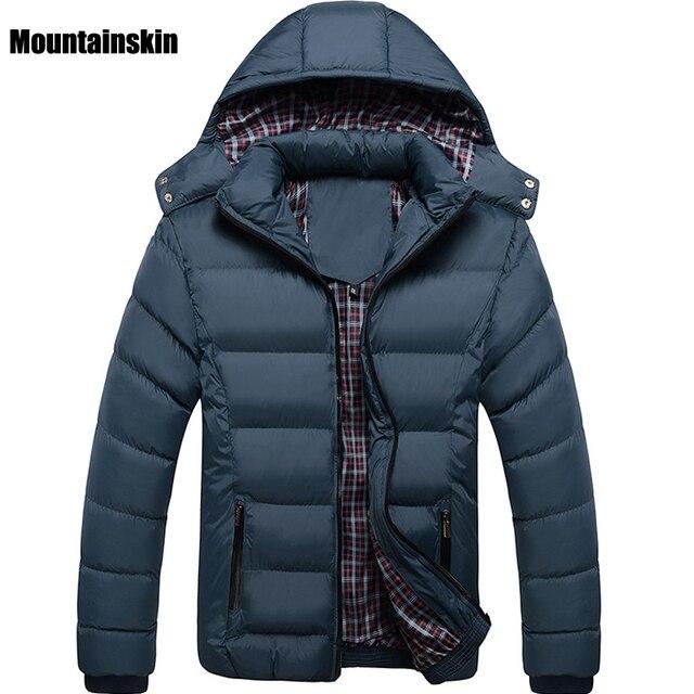 Mountainskin Зимний мужской Вниз и Хлопок Куртки Шляпа Съемный Твердые Повседневная Мужчины Парки Толстые Тепловые Ветрозащитный Моды Пальто, SA133