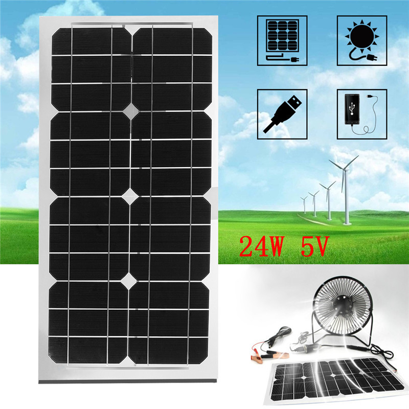 4W 6W 11W 12W 20W 24W Power Semi Flexible Solar Panel With USB Interface  For Home Free Power Ventilation Fans Smart Phone