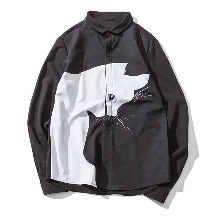 Cat Print Shirt Men Long Sleeve Casual Oversize Hip Hop Mens Shirts Fashion Korean Big Sizes Streetwear Mens Clothing C7008 Рубашка