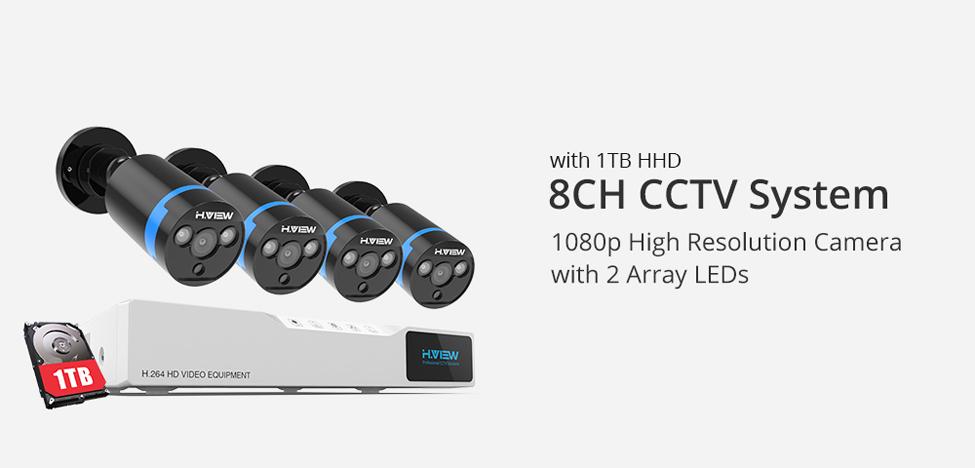home camera system 8420Q3AM1T H.View Security Camera System 8ch CCTV System 4 x 1080P CCTV Camera Surveillance System Kit Camaras Seguridad Home 1TB HDD