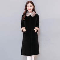 New Girls Long Winter Covered Button Turn Down Collar Fake Mink Fur Coat Slim Thick Warm