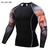 3D Lion Head Pattern Compression Elastic T Shirt Men S Long Sleeves Rashgard MMA Men S