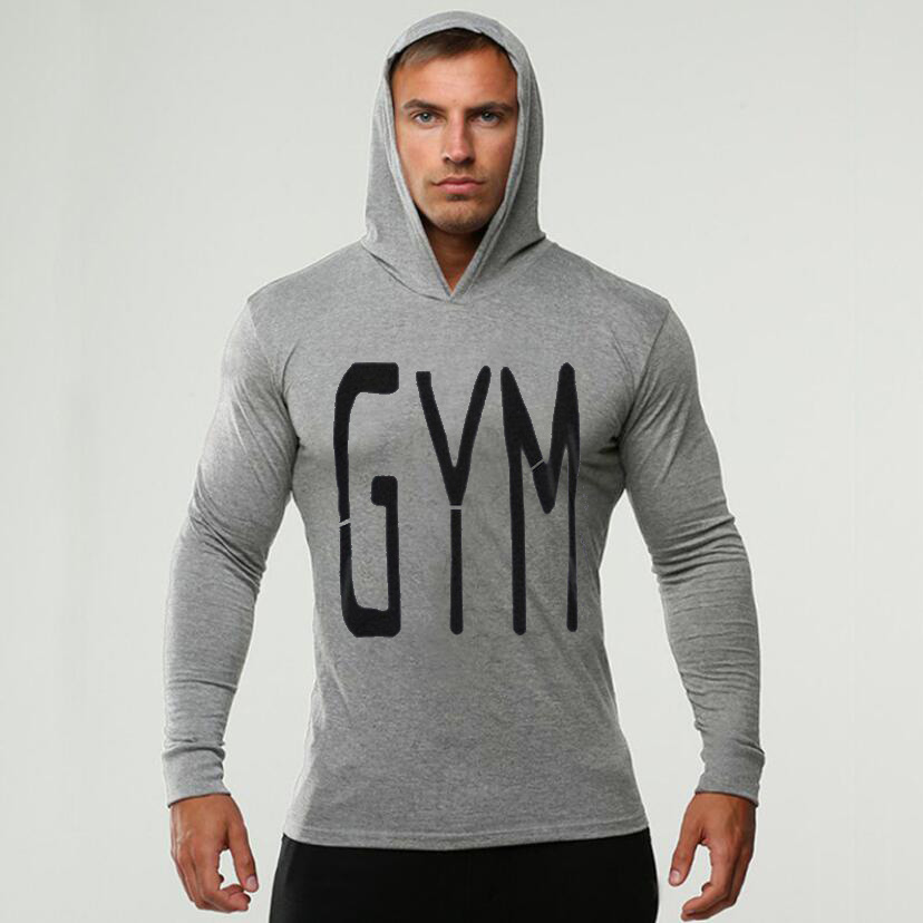 Bodybuilding Clothes Men T-shirt Hooded Gyms Sweatshirt Gold Long Sleeve Tops Cotton Sportwear Fitness Pullover Muscle Tee Shirt