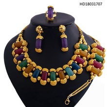 YULAILI 2018 New Coming Natural Stone Top Quality 24 Karat Gold Color Ladies Costume Jewelry Sets