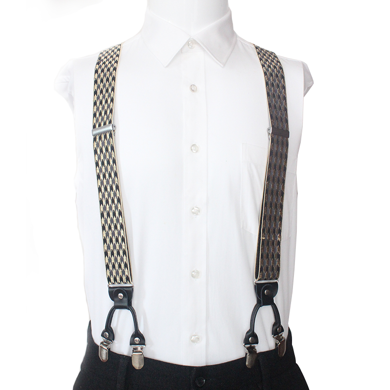 Man's Suspenders Leather 6 Clips Braces Male Vintage Casual Suspensorio Tirantes Trousers Strap Father/Husband's Gift 3.5*120cm