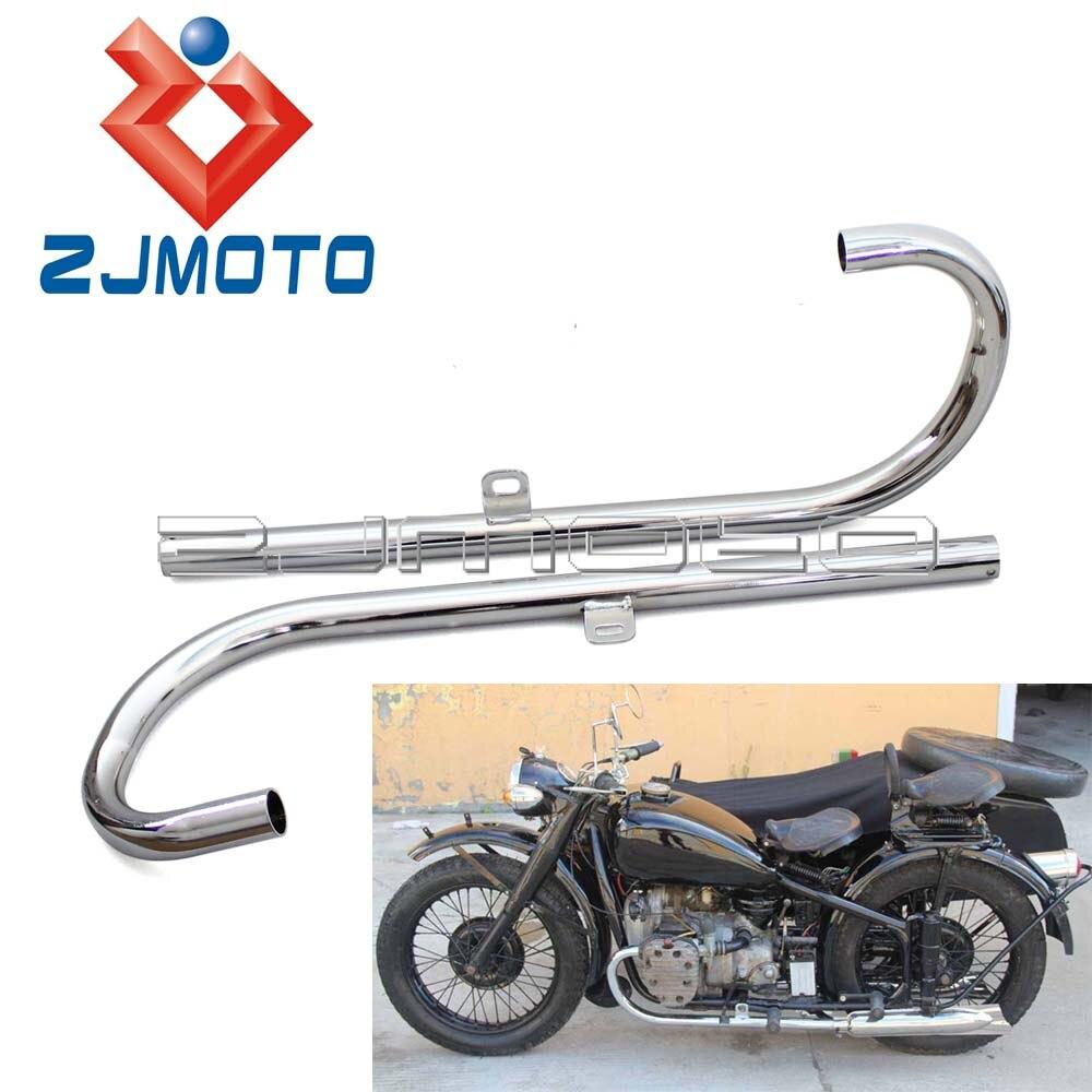 1 paire de silencieux d'échappement de moto 24HP à tête plate silencieux d'échappement Tube de tuyau pour BMW K750 M1 M72 R71 R12 CJ Dnepr MT12