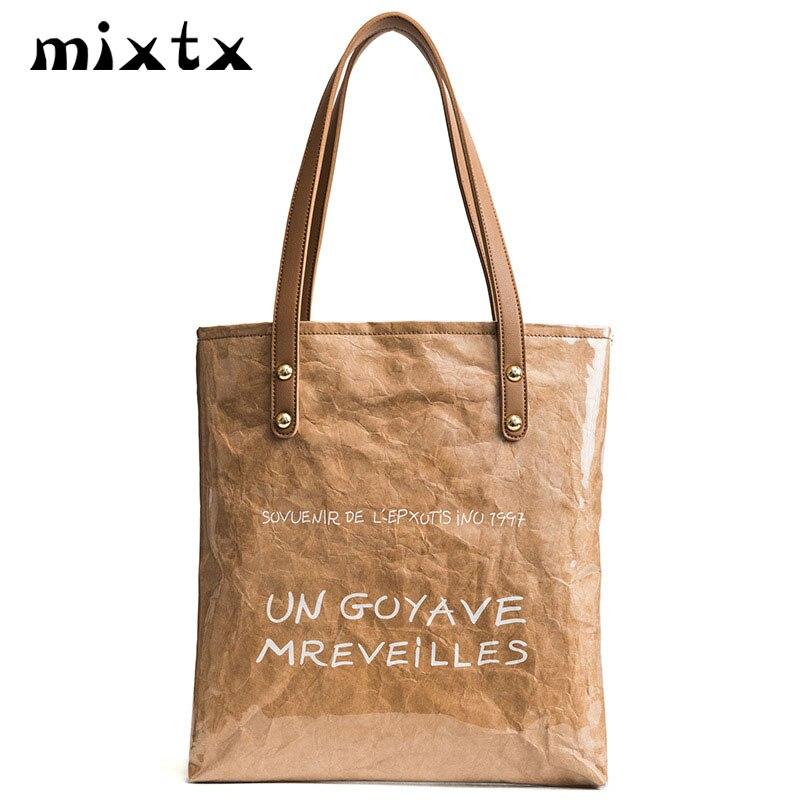mixtx Women Design Personality Handbag Kraft Paper+PVC Shoulder bag  Waterproof Beach Totes New Popular Female Funny Shopping Bag 8030f768d1e27
