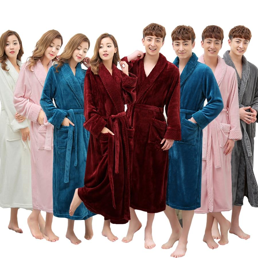 On Sale Super Soft Extra Long Men Women Warm Coral Flannel Bath Robe ...