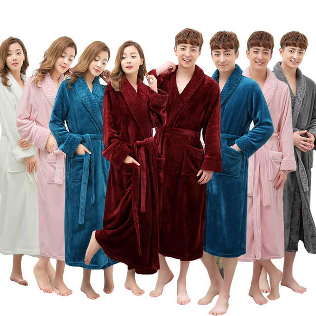 44a12d87ac On Sale Super Soft Extra Long Men Women Warm Coral Flannel Bath Robe Mens  Kimono Bathrobe
