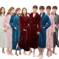 Sur Vente Super Doux Extra Long Hommes Femmes Chaud Corail Flanelle Peignoir Hommes Kimono Peignoir Mâle Robe de Chambre Lovers Hiver Robes