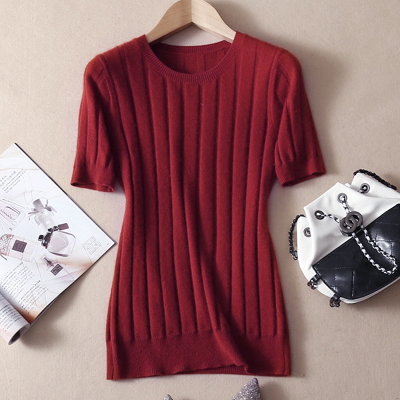 LHZSYY 2019 New Wool Knitted Blend T-shirt Solid color O Neck Women