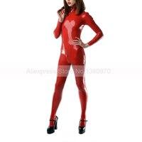 Латекса женские боди с Shlouder молнии однотонные красные плотно Зентаи комбинезон ноги носки прилагается S LC247